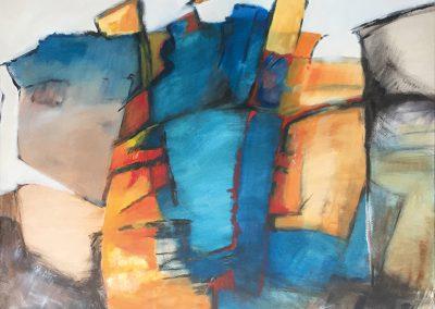Landschappelijk 1 – acryl op canvas – 140 x 140 cm