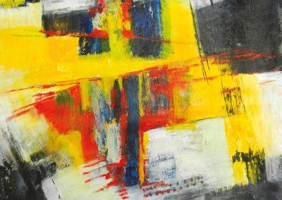 Tegenover elkaar – acryl op canvas – 60 x 110 cm