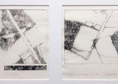 Different landscape - ets - tweeluik - 1/1 - 50 x 65 cm