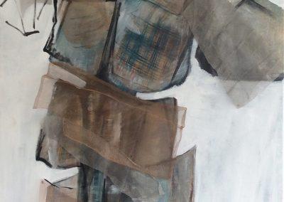 De rug toegekeerd - acryl op canvas, metaal gaas, mixed media - 70 x 100 cm