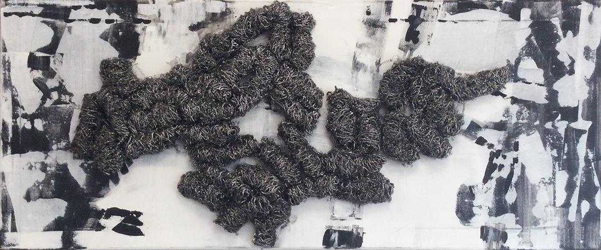 Glinsteringen - metaal sponsen, acryl op doek, mixed media - 40 x 120 cm
